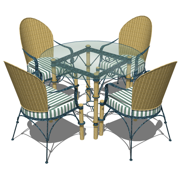Wrought iron and wicker dining table and chairs by.  sc 1 st  FormFonts & Wrought iron dining set 3D Model - FormFonts 3D Models u0026 Textures