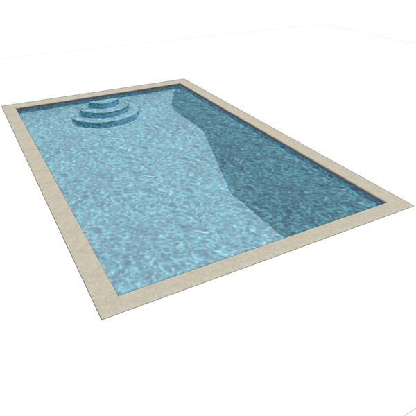 Rectangular pool. It will cut hole if placed direc....