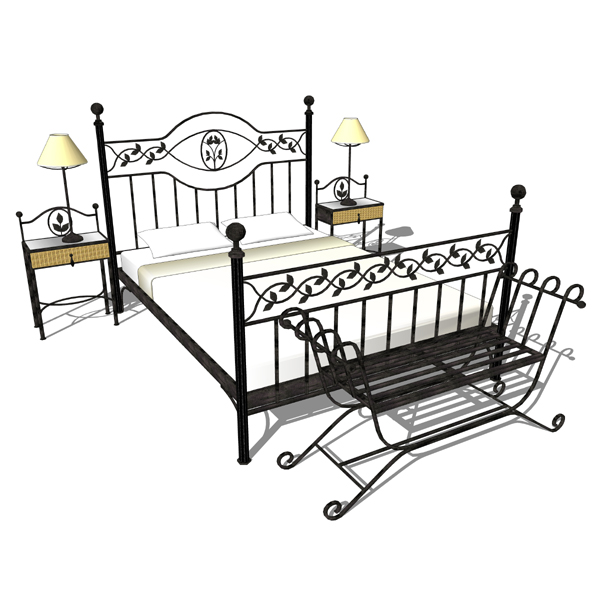 iron bedroom furniture sets. Wrought Iron Bedroom Set 3D Model Furniture Sets O
