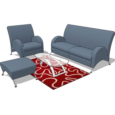 Generic sofa set c/w throw rug.