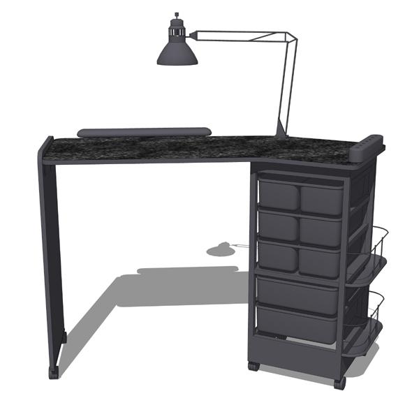 Manicure table 3d model formfonts 3d models textures for Black nail desk