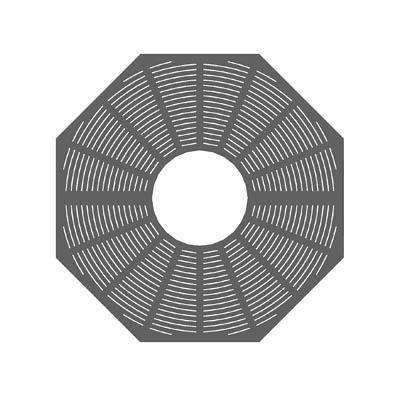 Octagonal tree grate, simple concentric pattern. T....