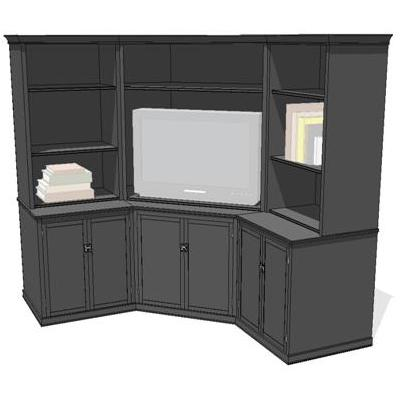 Logan Corner Media Unit. Shown in black finish.