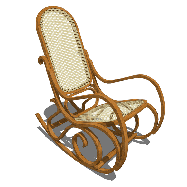 Superieur Rocking Wicker Chair 3D Model