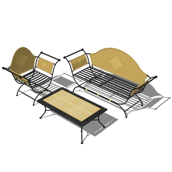 Traditional wrought iron and wicker furniture set ....