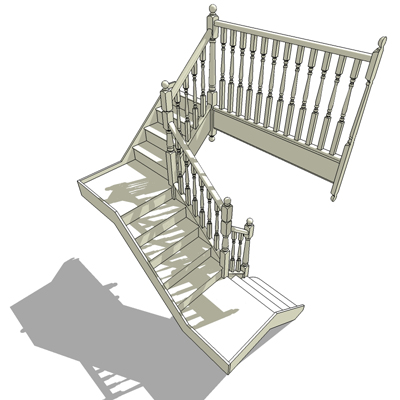 Quarter Landing Flight Stair With Turned Balusters And_1_quarterstair2.