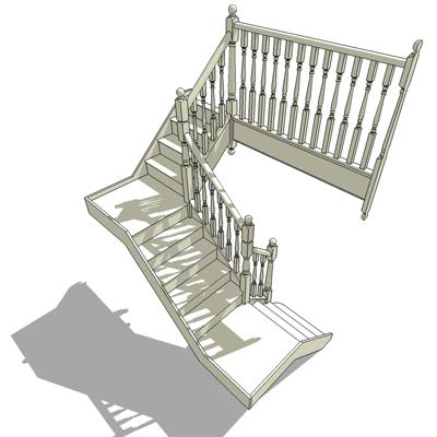 Quarter stair2 3d model formfonts 3d models textures for Quarter landing staircase