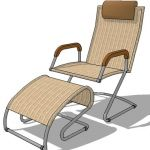 Wicker lounge chair with foot stool