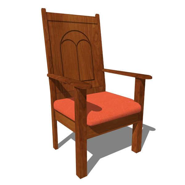 Church Chair 02 3D Model