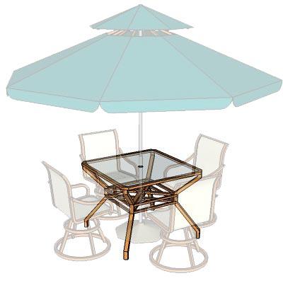 Garden Table Set C/w Umbrella.