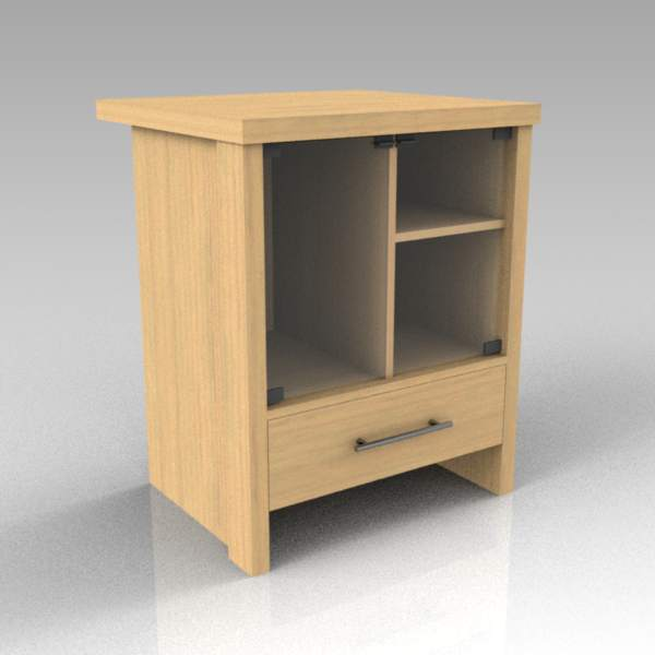 A display and storage cabinet (matches desk01).