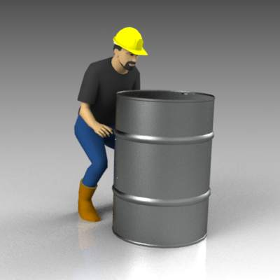 A worker in lifting position (barrel 