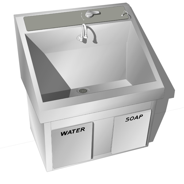 Wall mounted surgical scrub sink..