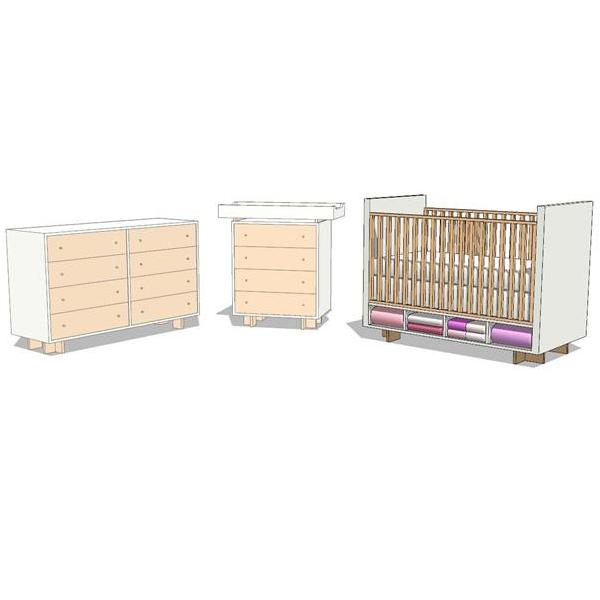 Moda Baby's Room Furniture. Shown with pink accent....