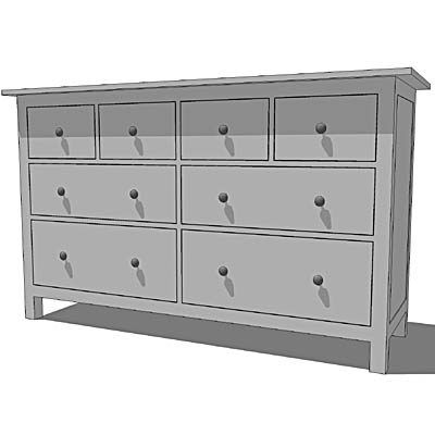 Ikea Hemnes Chests White 3d Model