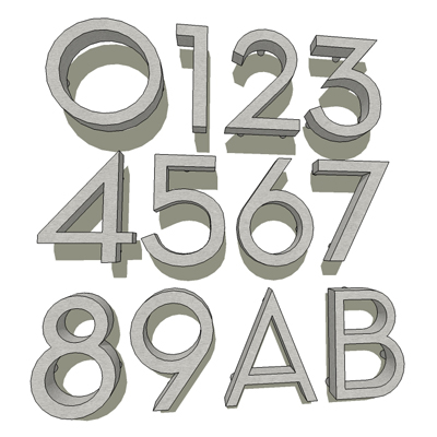 Set of stainless steel house numbers, and two lett....