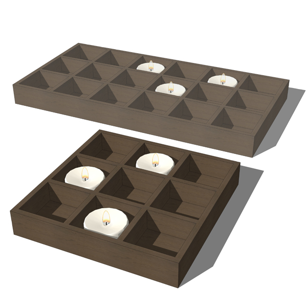Candles on wooden rectangular base. Candles are a ....
