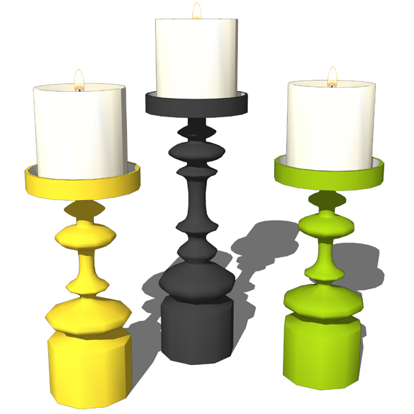 Decorative candleholders with candles. The model c....