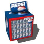Small fridge with image mapped Pepsi cans.