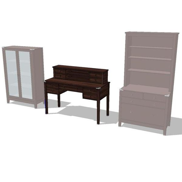 Campaign Office Set. Shown in dark wood finish..