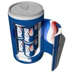 Tabletop fridge with Pepsi cans.