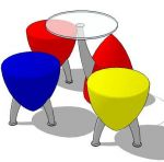 Moulded plastic bullet shaped 3 legged stool with ...