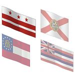 The state flags of Florida, Georgia and Hawaii, as...