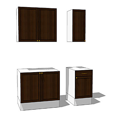 ikea faktum cabinets set 3d model formfonts 3d models textures. Black Bedroom Furniture Sets. Home Design Ideas
