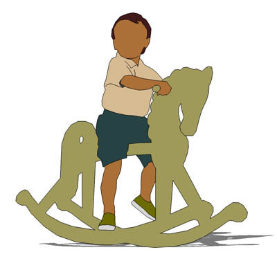 2D face Me figure; young child on rocking horse.
