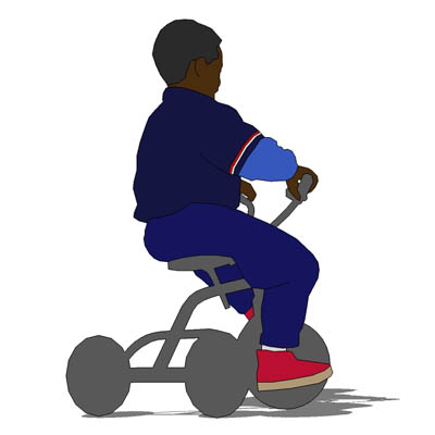 2D Face Me figure; young boy on trike..