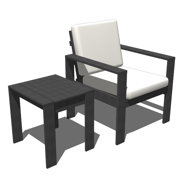 Outdoor chair with matching side table