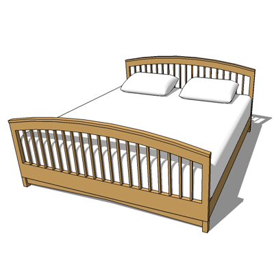 Double bed frame type 4 3d model formfonts 3d models textures - Different types of bed frames ...
