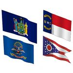 The state flags of New York, North Carolina, North...
