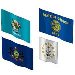 The state flags of Oklahoma, Oregon, Pennsylvania ...