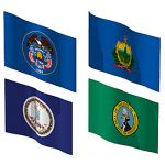 The state flags of Utah, Vermont, Virginia and Was...