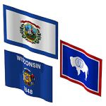 The state flags of West Virginia, Wisconsin and Wy...