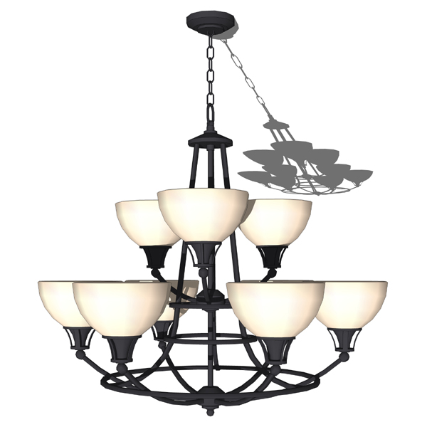 Kichler 9 light classic chandelier shown in black..