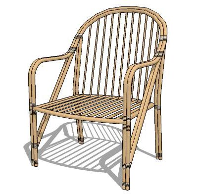 Cane armchair set, for both indoor and outdoor.