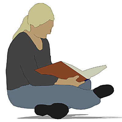 A female student, seated on the ground, reading a ....