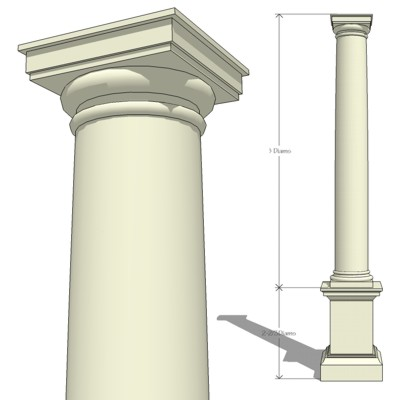 Doric Ionic and Corinthian, Classical Order Column....