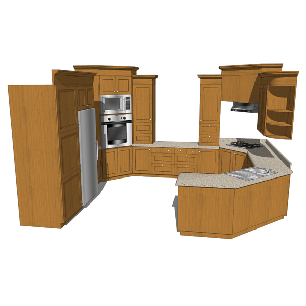 Kitchen set 04 3d model formfonts 3d models textures for Model model kitchen set