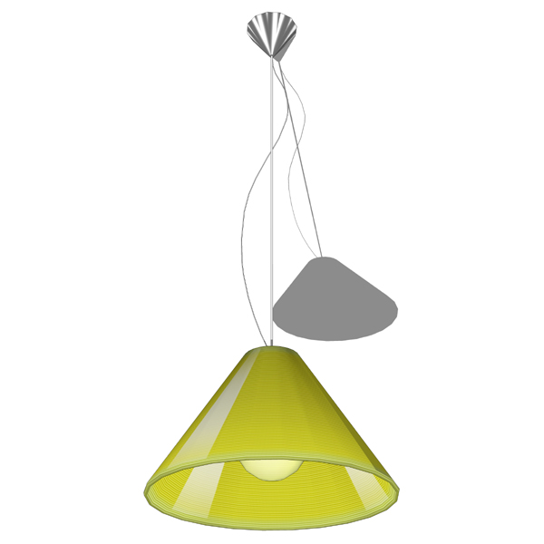 Ribbed glass suspension lamp highlighted by an int....