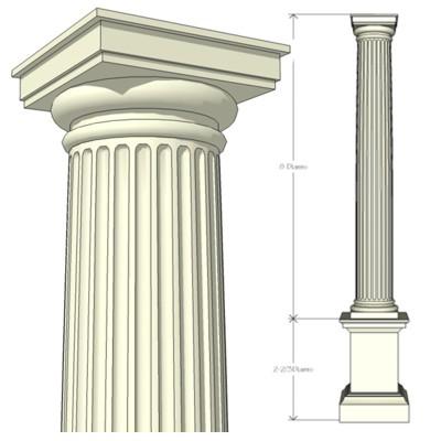 Classic Columns Fluted Shaft 3D Model FormFonts 3D Models & Textures