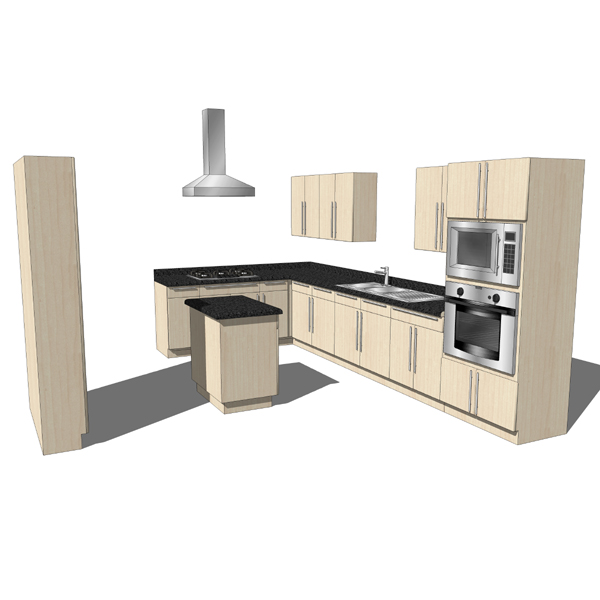 Modern Kitchen 3d Model kitchen set 06 3d model modern style kitchen with island note wood