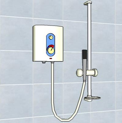 Generic water heater and shower set.