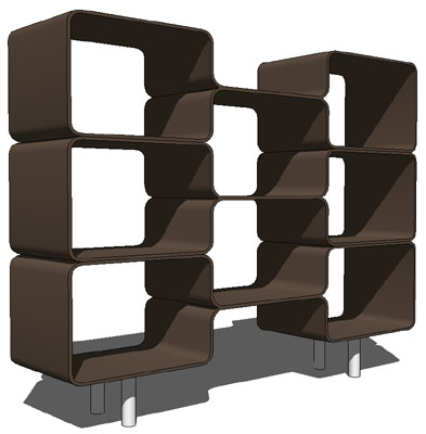 Freestanding or wall mounted shelving system.