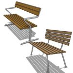Free standing park or garden bench in teak wood fi...