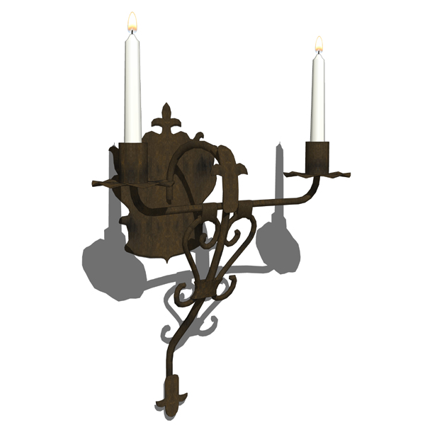 Rustic iron wall sconce..