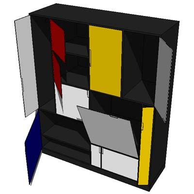 Closet inspired by piet mondrian 3d model formfonts 3d for Design stuhl freischwinger piet 30