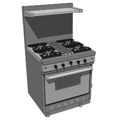 model based on a viking commercial stove unit